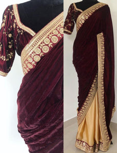 Celebrity Wear KF3656 Bollywood Inspired Cream Silk Maroon Velvet Saree - Fashion Nation