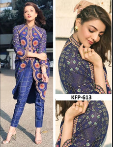 Kajal Aggarwal KF3664 Bollywood Inspired Blue Silk Jacket Style Pant Suit - Fashion Nation