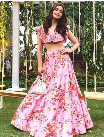 KF3665 Alia Bhatt Bollywood Inspired Pink Multicoloured Silk Lehenga Choli - Fashion Nation