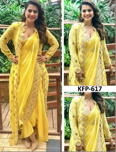 Kajol KF3716 Bollywood Inspired Yellow Georgette Silk Saree with Koti - Fashion Nation