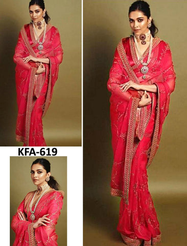 Deepika Padukone KF3721 Bollywood Inspired Red Georgette Silk Saree - Fashion Nation