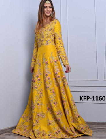 Indo Western KF3734 Bollywood Inspired Yellow Silk Gown - Fashion Nation