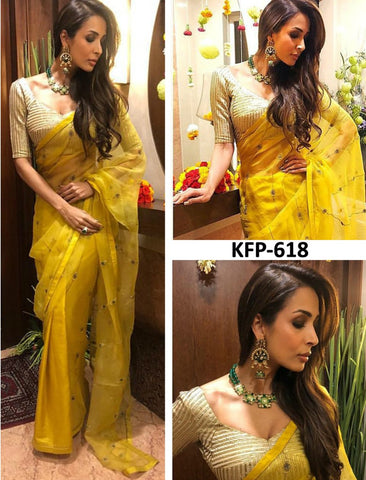Malaika Arora KF3735 Bollywood Inspired Yellow Silk Saree by Fashion Nation