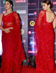 Alia Bhatt KF3737 Bollywood Inspired Red Net Silk Saree - Fashion Nation