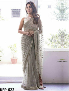 Anu Emmanuel KF3741 Bollywood Inspired Grey Net Silk Saree - Fashion Nation