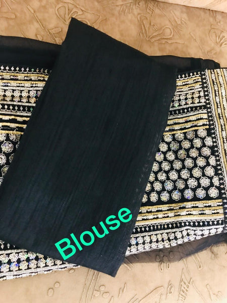 Trisha Celebrity Wear KF3750 Bollywood Inspired Black Georgette Silk Saree - Fashion Nation