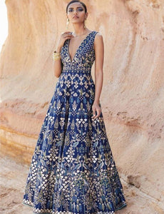 Designer Indo Western KF3759 Bollywood Inspired Blue Silk Gown - Fashion Nation.in