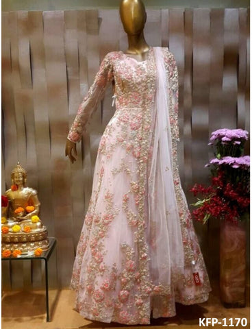 Indo Western KF3795 Bollywood Inspired Pink White Net Long Dress Gown - Fashion Nation