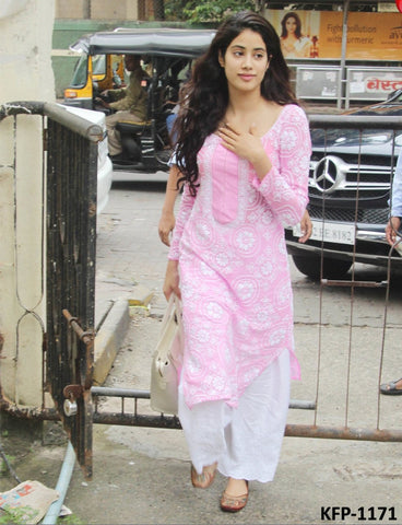 Janhvi Kapoor KF3796 Bollywood Inspired Pink White Cotton Kurta Palazzo - Fashion Nation