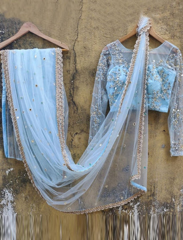 Celebrity Wear KF3825 Bollywood Inspired Sky Blue Net Saree - Fashion Nation