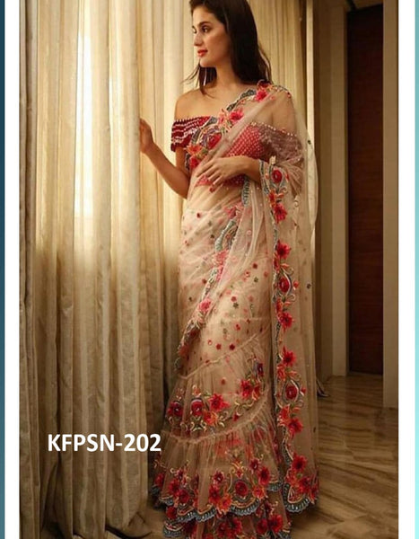 Celebrity Wear KF3855 Bollywood Inspired Cream Net Silk Layered Saree - Fashion Nation