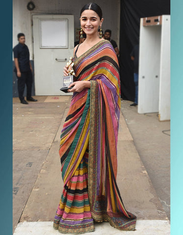 Alia Bhatt KF3861 Bollywood Inspired Multicoloured Silk Saree - Fashion Nation.in
