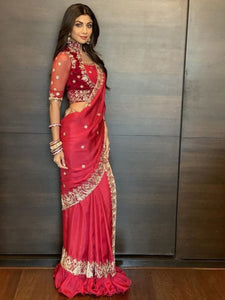 Shilpa Shetty KF3865 Bollywood Inspired Red Silk Saree - Fashion Nation