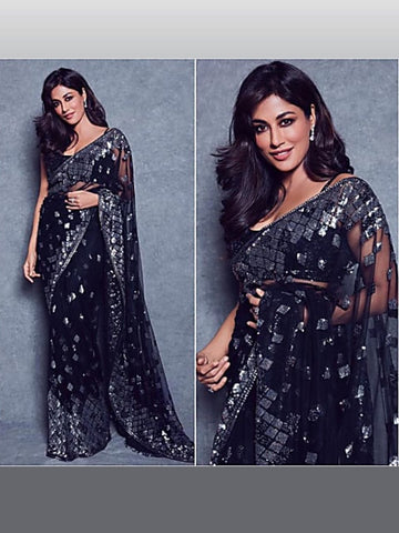 Chitrangada Singh KF3866 Bollywood Inspired Black Net Saree - Fashion Nation.in