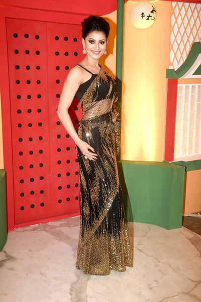 Urvashi Rautela KF3867 Bollywood Inspired Black Net Saree - Fashion Nation