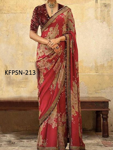Anushka Sharma KF3873 Bollywood Inspired Red Cream Silk Saree - Fashion Nation.in