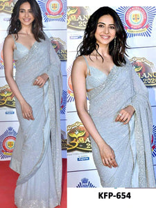 Rakul Preet Singh KF3881 Bollywood Inspired Grey Georgette Saree - Fashion Nation