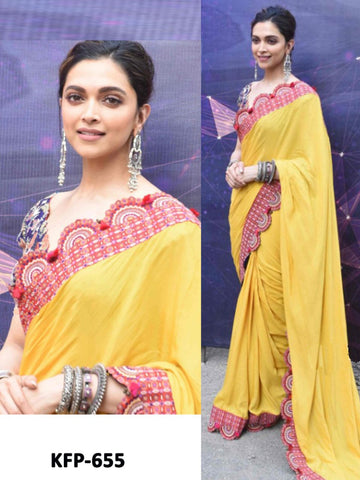 Deepika Padukone KF3882 Bollywood Inspired Yellow Georgette Saree - Fashion Nation