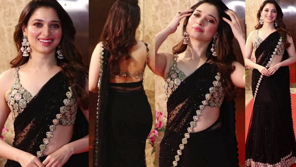 Tamannaah Bhatia KF3884 Bollywood Inspired Pastel Black Georgette Saree - Fashion Nation