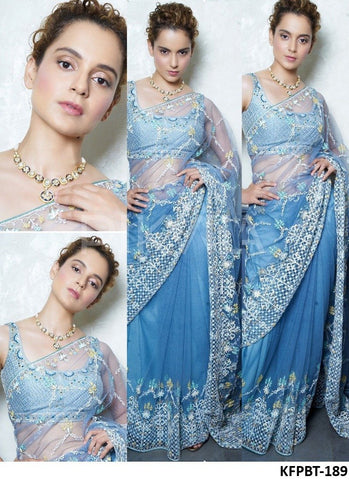 Attractive KFPBT189 Kangana Ranaut Bollywood Inspired Blue Nylon Net Brocade Saree - Fashion Nation