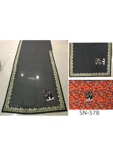 Latest KFP578 Bollywood Inspired Black Georgette Multicoloured Crepe Saree