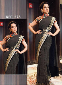 Latest KFP578 Bollywood Inspired Black Georgette Multicoloured Crepe Saree - Fashion Nation