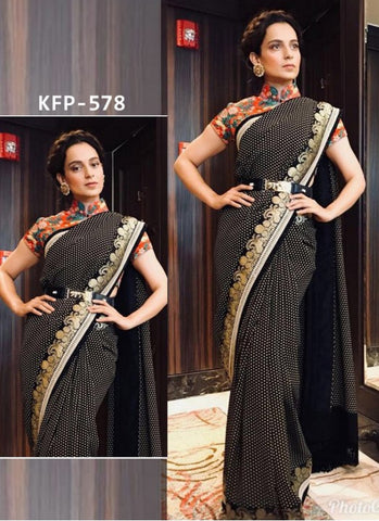 Latest KFP578 Bollywood Inspired Black Georgette Multicoloured Crepe Saree by Fashion Nation