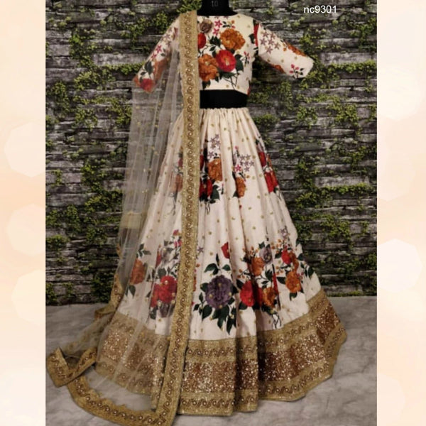 Attractive Sonam Kapoor KFP577 Bollywood Inspired White Multicoloured Nylon Net Lehenga Choli - Fashion Nation