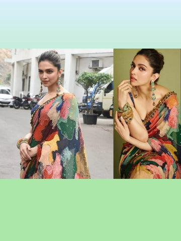 Deepika Padukone KFdeepika Bollywood Inspired Multicoloured Georgette Silk Saree - Fashion Nation.in