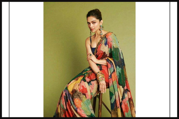 Deepika Padukone KFdeepika Bollywood Inspired Multicoloured Georgette Silk Saree - Fashion Nation