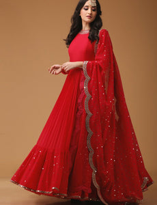 Sizzling KF3607 Bollywood Inspired Red Georgette Anarkali Gown - Fashion Nation