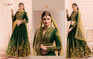 Ethnic Bridal L15 Green Beige Art Silk Net Lehenga - Fashion Nation