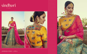 Embroidered Kimora Bridal L513A Blue Pink Yellow Banarasi Silk Jacquard Lehenga Choli - Fashion Nation