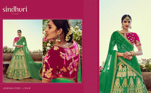 Designer Kimora Bridal L514B Green Pink Banarasi Silk Jacquard Lehenga Choli - Fashion Nation
