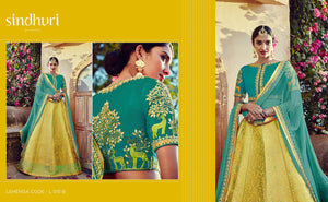 Bridal Kimora Ethnic L515B Yellow Blue Banarasi Silk Jacquard Lehenga Choli - Fashion Nation