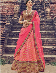 Gorgeous LG18036 Designer Pink Jacquard Net Magenta Brocade Lehenga Choli by Fashion Nation
