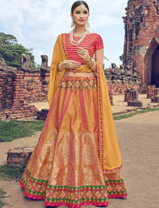 Special LG18037 Superb Orange Jacquard Chinon Magenta Brocade Lehenga Choli by Fashion Nation