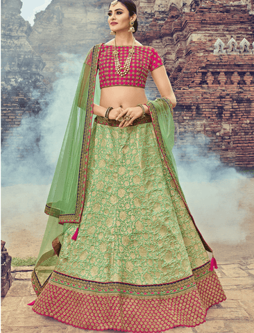 Beautiful LG18039 Royal Green Jacquard Net Magenta Brocade Lehenga Choli - Fashion Nation