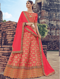 Excellent LG18040 Vibrant Pink Jacquard Chinon Brocade Lehenga Choli by Fashion Nation