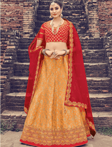 Latest LG18042 Wedding Orange Jacquard Silk Red Net Brocade Lehenga Choli by Fashion Nation