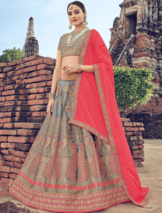 Classy LG18043 Designer Grey Jacquard Brocade Pink Chinon Lehenga Choli by Fashion Nation