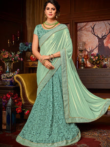 Cocktail Special LH10701 Designer Cyan Net Jacquard Lehenga Saree by Fashion Nation