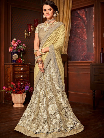 Party Wear LH10702 Designer Golden Beige Net Jacquard Lehenga Saree by Fashion Nation