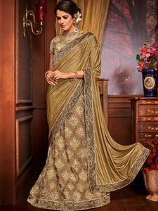 En Vogue LH10704 Designer Golden Beige Net Jacquard Lehenga Saree by Fashion Nation