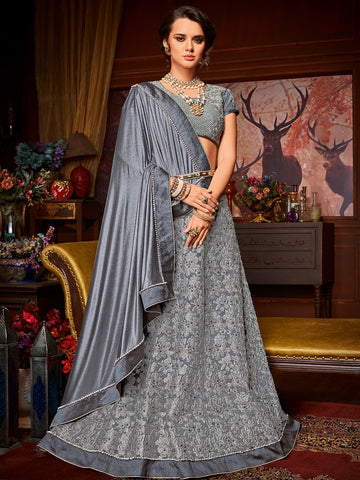A La Moda LH10705 Designer Lavender Grey Net Jacquard Lehenga Saree by Fashion Nation
