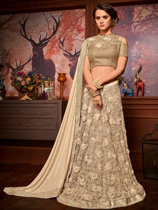 Fashion Edit LH10706 Designer Beige Net Jacquard Lehenga Saree by Fashion Nation
