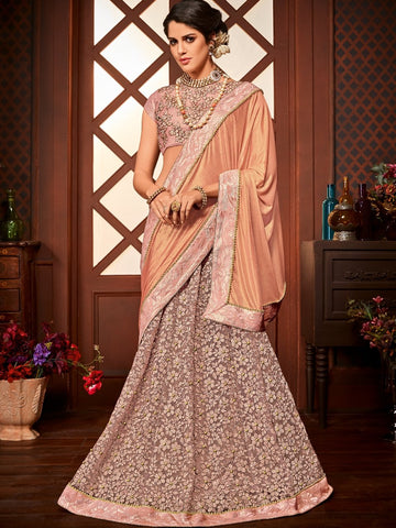 Embroidered LH10708 Designer Pink Net Jacquard Lehenga Saree by Fashion Nation