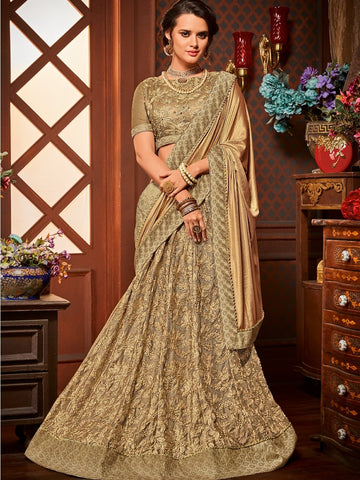 Indian Wear LH10709 Designer Golden Net Jacquard Lehenga Saree by Fashion Nation