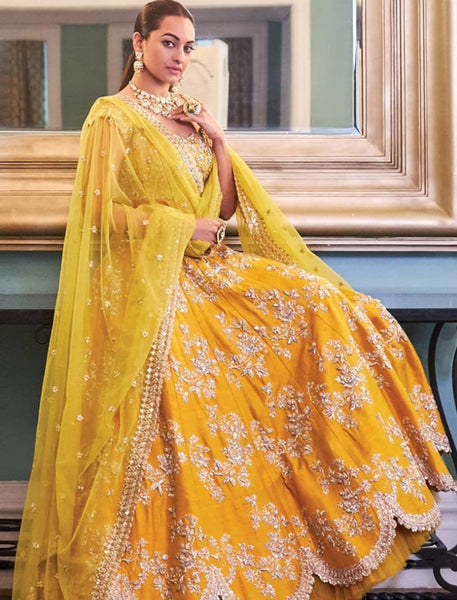 Sonakshi Sinha Celebrity Wear KF3753 Bollywood Inspired Yellow Silk Lehenga Choli - Fashion Nation.in