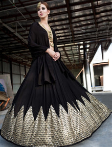 Celebrity Wear KF3781 Bollywood Inspired Black Georgette Silk Lehenga Choli - Fashion Nation.in